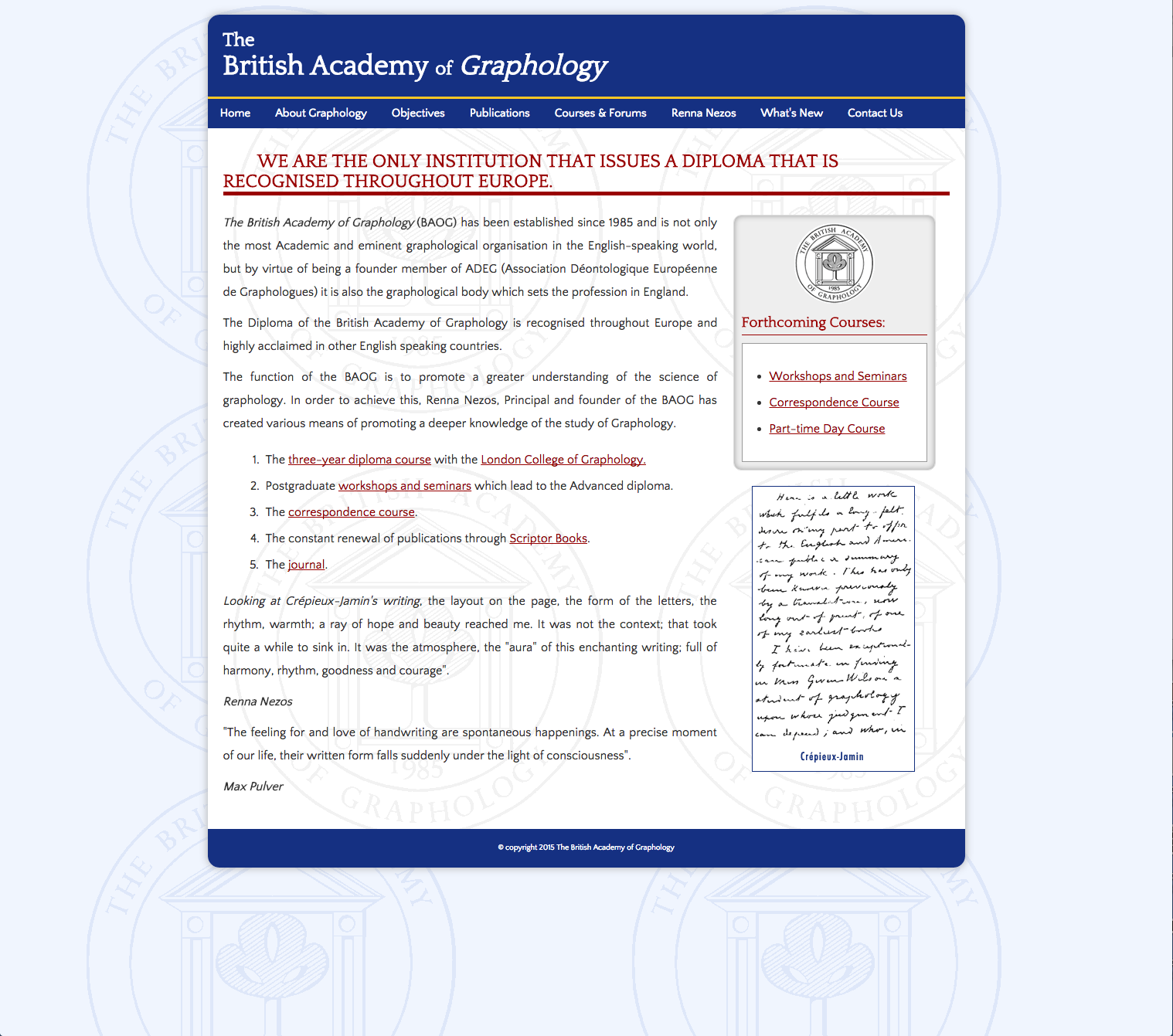 The British Academy of Graphology